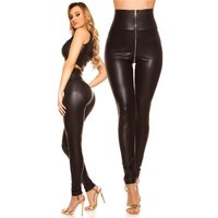 Sexy womens wet look high-waisted leggings with zipper black