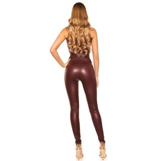 Sexy Damen Wetlook Leggings mit hohem Taillenbund Bordeaux