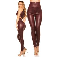 Sexy womens wet look high-waisted leggings with zipper...