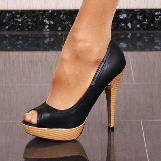 faux leather peep toe court shoes