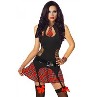 Sexy 3 pcs schoolgirl costume go go outfit student black/red