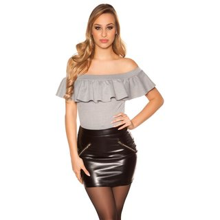 Sexy skinny womens faux leather miniskirt with zips black UK 8 (XS)