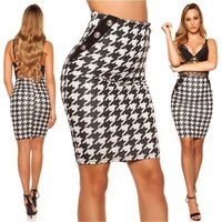 Womens houndstooth pencil skirt black/white UK 12 (M)