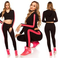 Womens workout hoodie + trousers with stripes black/fuchsia