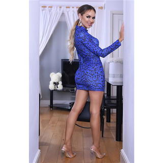 Sexy Damen Bodycon Party-Minikleid Animal-Print Leopard Blau
