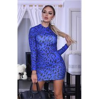 Sexy womens high-necked bodycon minidress animal print...