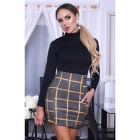 Womens high neck dress checked pattern black/mustard