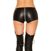 Sexy wet look hot pants with zipper crotch gogo black