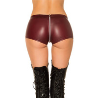 Sexy wet look hot pants with zipper crotch gogo wine-red