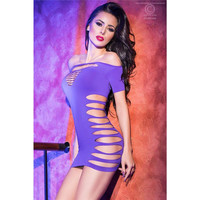 Sexy stretch clubbing minidress with cut out chest purple