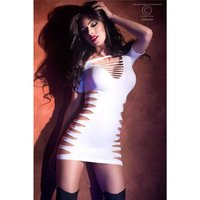 Sexy stretch clubbing minidress with cut out chest white