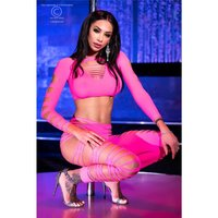 Sexy 2 pcs gogo set with cut outs shirt + leggings fuchsia