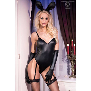 Sexy 4 pcs bunny costume bodysuit wet look gogo outfit black