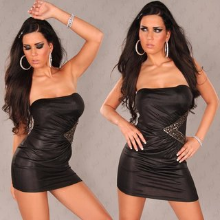 SEXY BANDEAU MINIDRESS WITH RHINESTONES BLACK