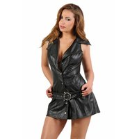 Sexy faux leather club minidress with button front black...