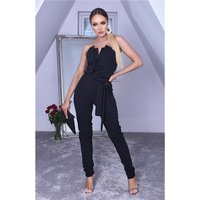 Elegant womens jumpsuit strapless with tie belt black