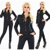 Slim-fit womens long sleeve jeans jumpsuit long-sleeved...