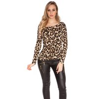Damen Langarm Shirt mit Animalprint Leopard-Optik Beige...