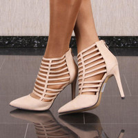 Sexy Damen Schuhe Velours Riemchen Pumps High Heels Beige