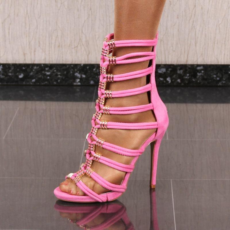 0ad6b22c030a62 Hohe Damen-Sandaletten mit Riemchen Pink