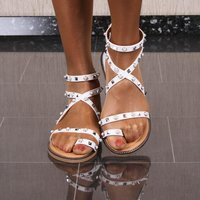 Flat womens summer shoes strappy sandals faux leather white