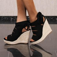 Womens velour platform sandals with bast wedge heel black