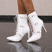 Womens faux leather tie up ankle boots white UK 6,5