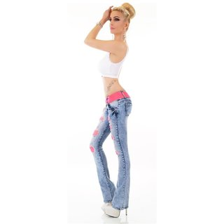 Damen Bootcut Jeans mit Netz Destroyed-Look Blau/Pink