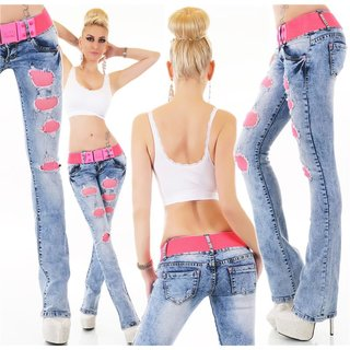 Womens bootcut jeans with mesh destroyed look blue/fuchsia