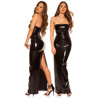Floor-length club dress in latex look vinyl black