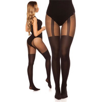 Sexy Damen Nylon Strumpfhose in Straps-Optik Schwarz
