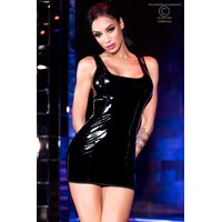 Sexy Damen Club Minikleid in Lack-Optik Wetlook Schwarz
