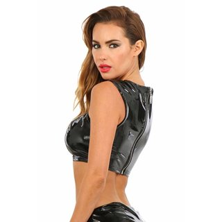 Sexy Damen Gogo Top Latex-Look Vinyl mit Schnürung Schwarz