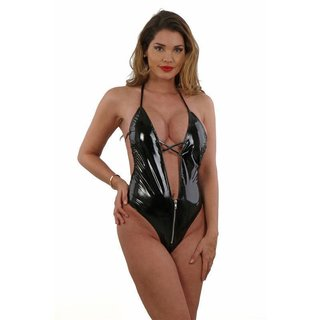 Sexy Damen Vinyl Stringbody Latex Look Gogo Clubwear Schwarz