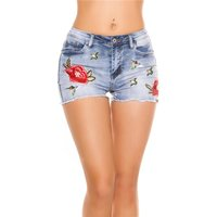 Sexy Damen Jeans Shorts Stretch Hotpants mit Blumen Blau