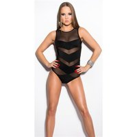 Sleeveless womens bodysuit with transparent mesh black...