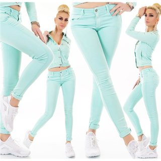 Figurbetonende Damen Stretch Jeans mit Push-Up Türkis