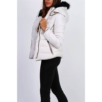Quilted womens winter jacket with hood and fake fur...