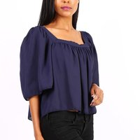 Semi-transparent womens chiffon shirt navy