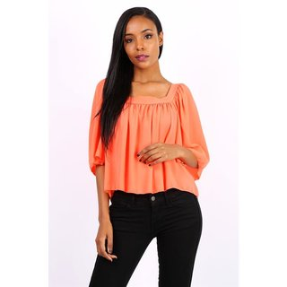 Halbtransparentes Damen Chiffon Shirt Halbarm Neon Orange