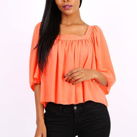 Semi-transparent womens chiffon shirt neon-orange