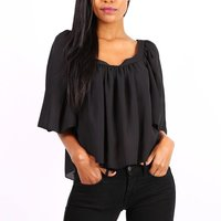 Semi-transparent womens chiffon shirt black