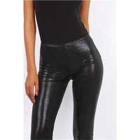 Halbtransparente 7/8 Leggings Wetlook mit Kroko-Optik...