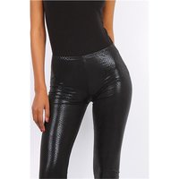 Semi-transparent 7/8 leggings wet look with croc pattern...