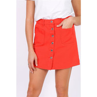 Skinny womens jeans skirt with button front coral
