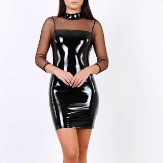 218be0ae9c2 Short club minidress latex vinyl look with mesh black ...
