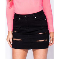 Womens destroyed jeans miniskirt with frayed hem black