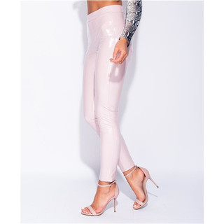 Glänzende Damen Highwaist Vinyl Leggings Latex-Look Rosa