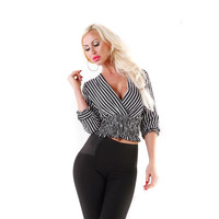 Womens striped chiffon blouse in wrap look black/white