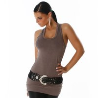 Sexy womens basic tanktop longtop cappuccino Onesize (UK...
